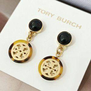 Tory Burch Disc Hollow Logo Resin Pearl Earrings